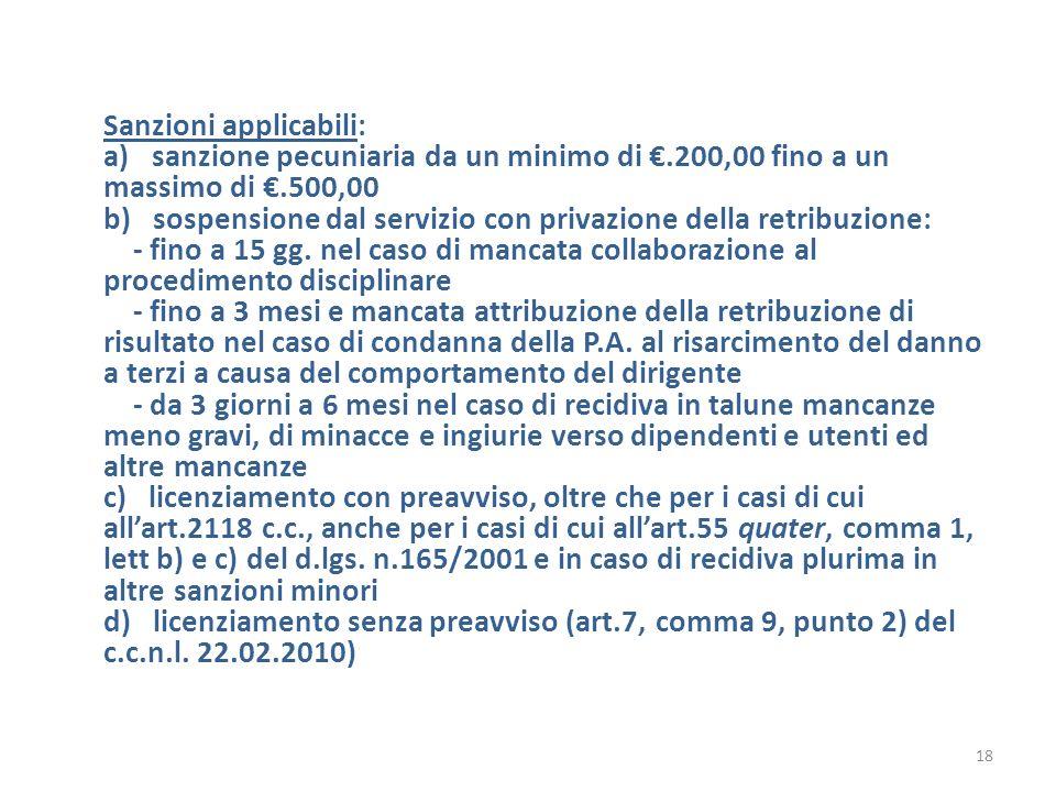 Sanzioni applicabili: a) sanzione pecuniaria da un minimo di €