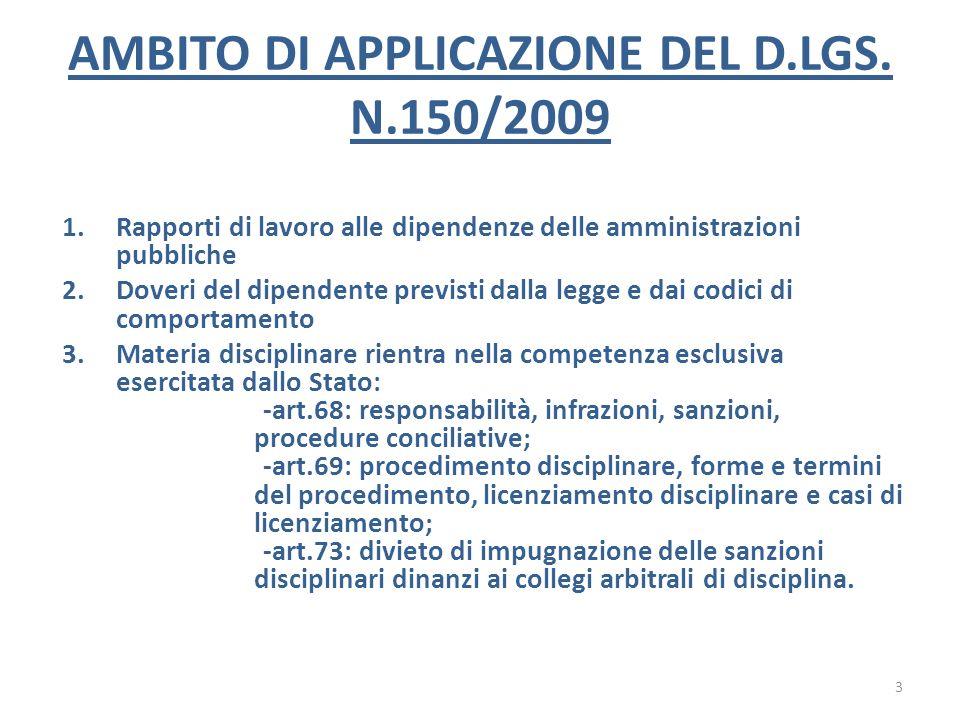 AMBITO DI APPLICAZIONE DEL D.LGS. N.150/2009