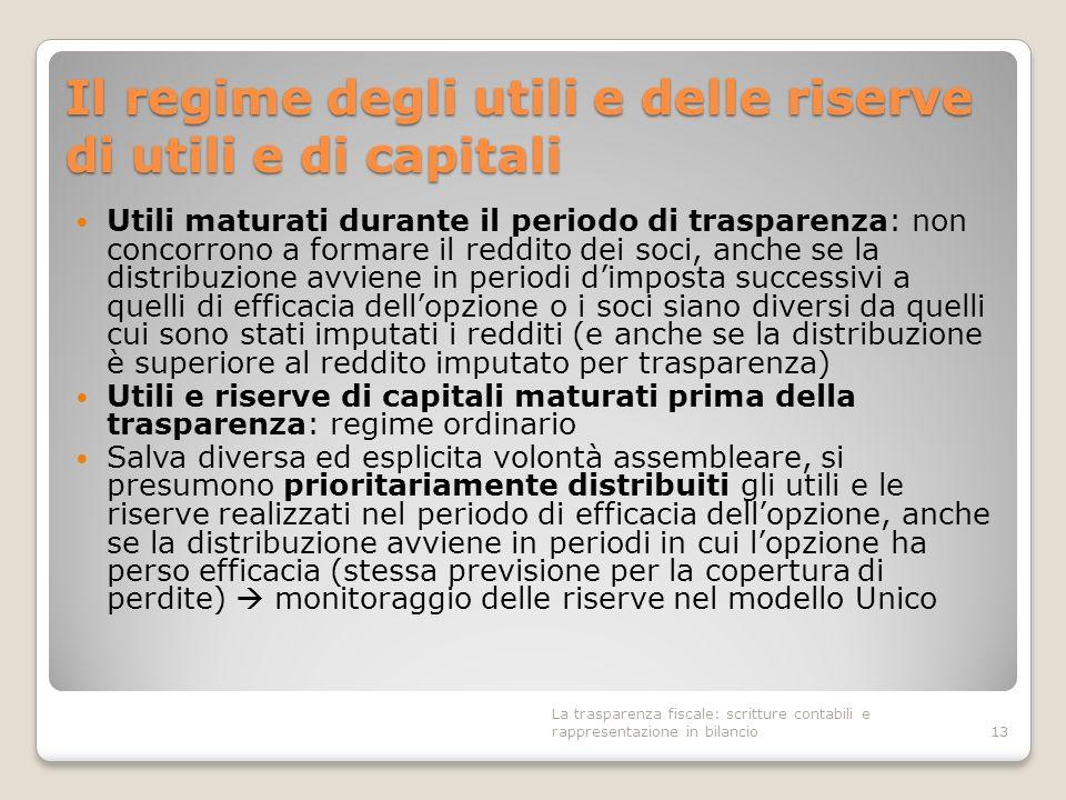 Il regime degli utili e delle riserve di utili e di capitali