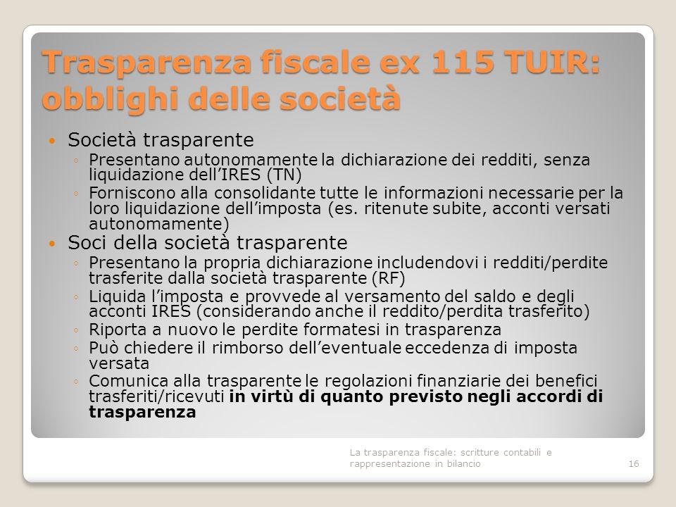 Trasparenza fiscale ex 115 TUIR: obblighi delle società