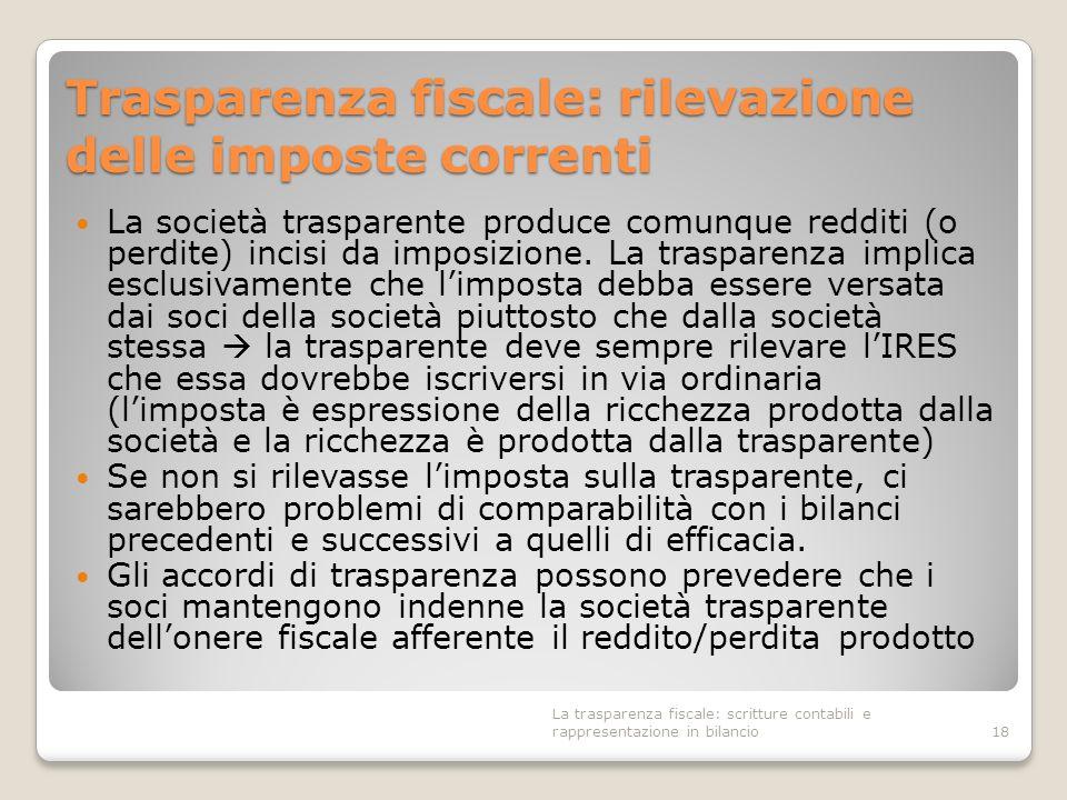 Trasparenza fiscale: rilevazione delle imposte correnti