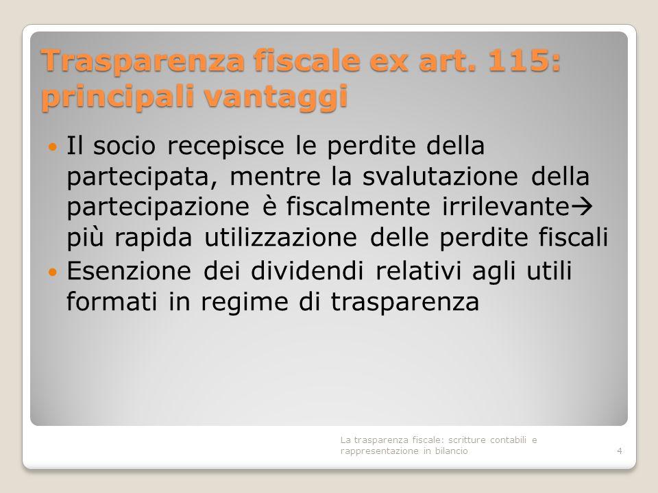 Trasparenza fiscale ex art. 115: principali vantaggi