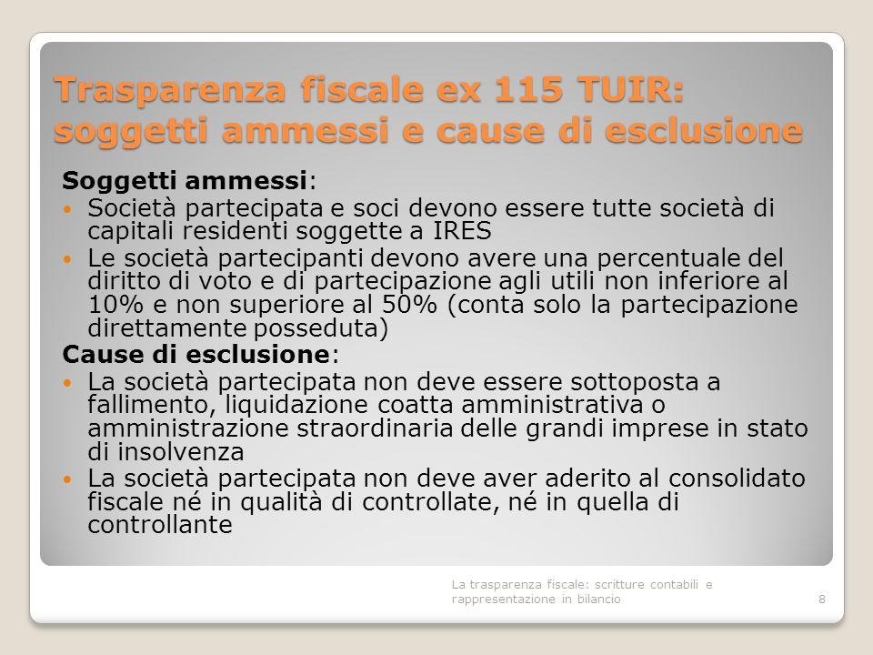 Trasparenza fiscale ex 115 TUIR: soggetti ammessi e cause di esclusione