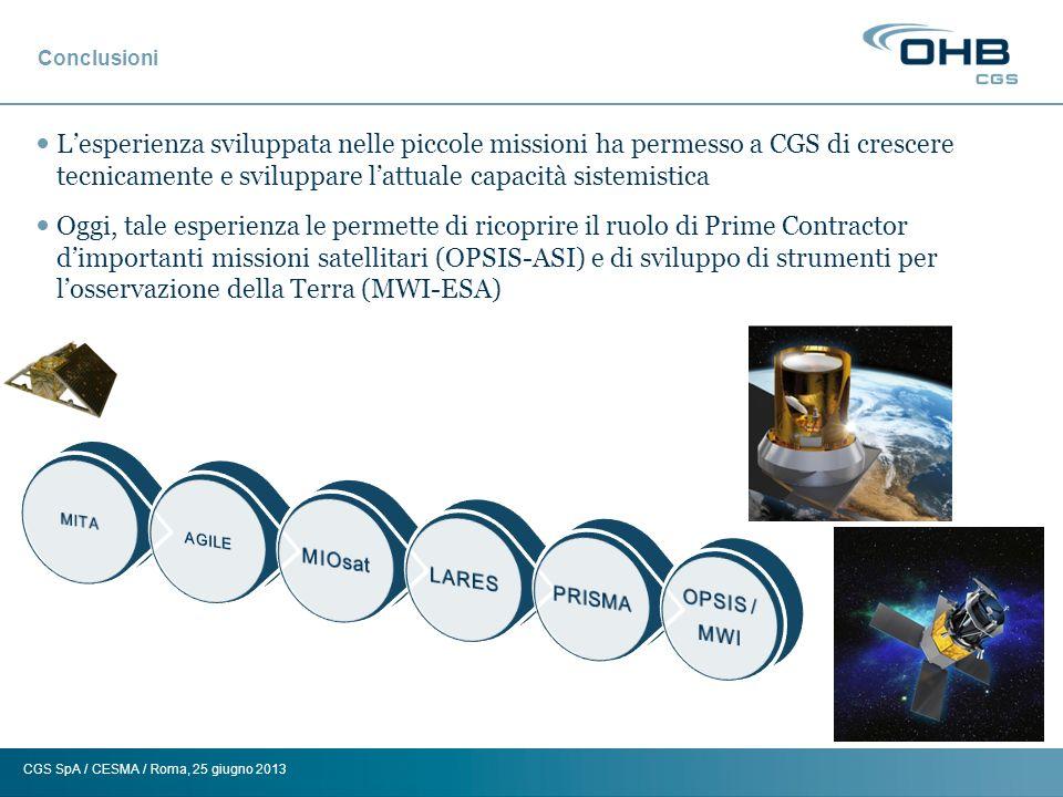 Conclusioni L'esperienza sviluppata nelle piccole missioni ha permesso a CGS di crescere tecnicamente e sviluppare l'attuale capacità sistemistica.