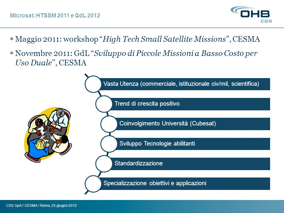 Maggio 2011: workshop High Tech Small Satellite Missions , CESMA