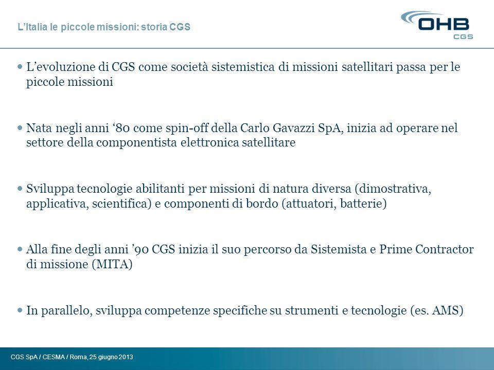 L'Italia le piccole missioni: storia CGS