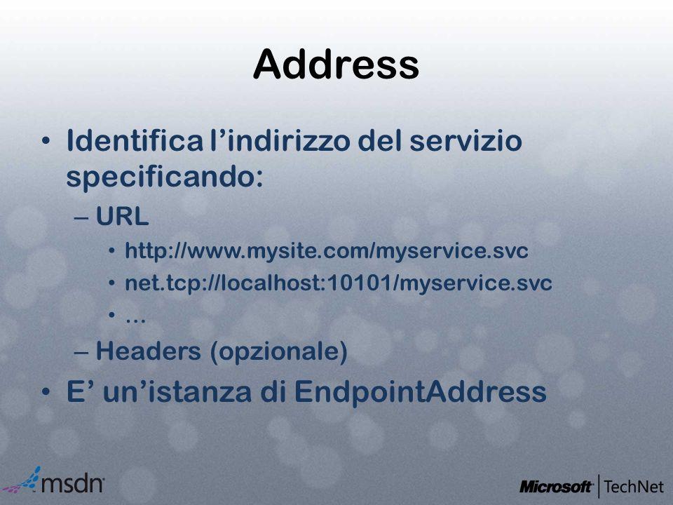 Address Identifica l'indirizzo del servizio specificando: