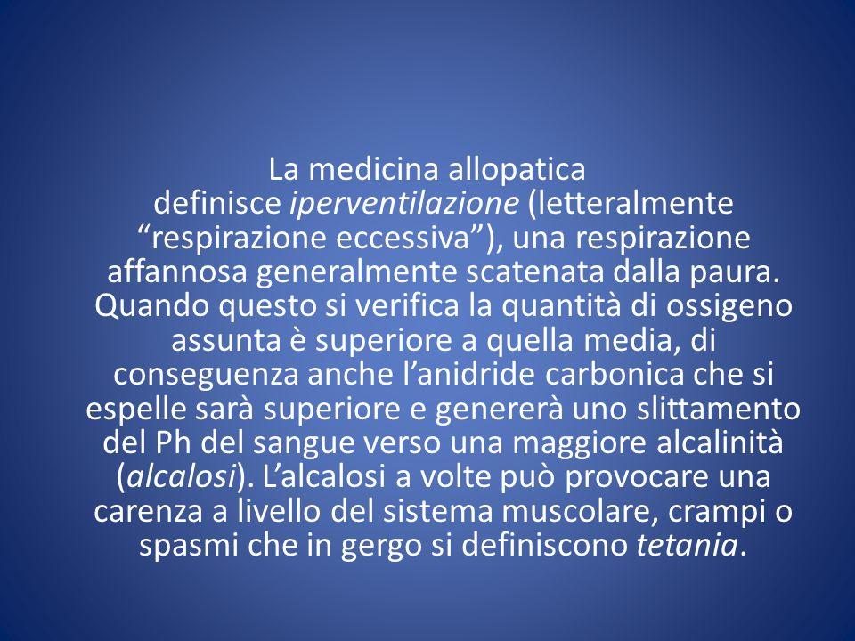 La medicina allopatica definisce iperventilazione (letteralmente respirazione eccessiva ), una respirazione affannosa generalmente scatenata dalla paura.