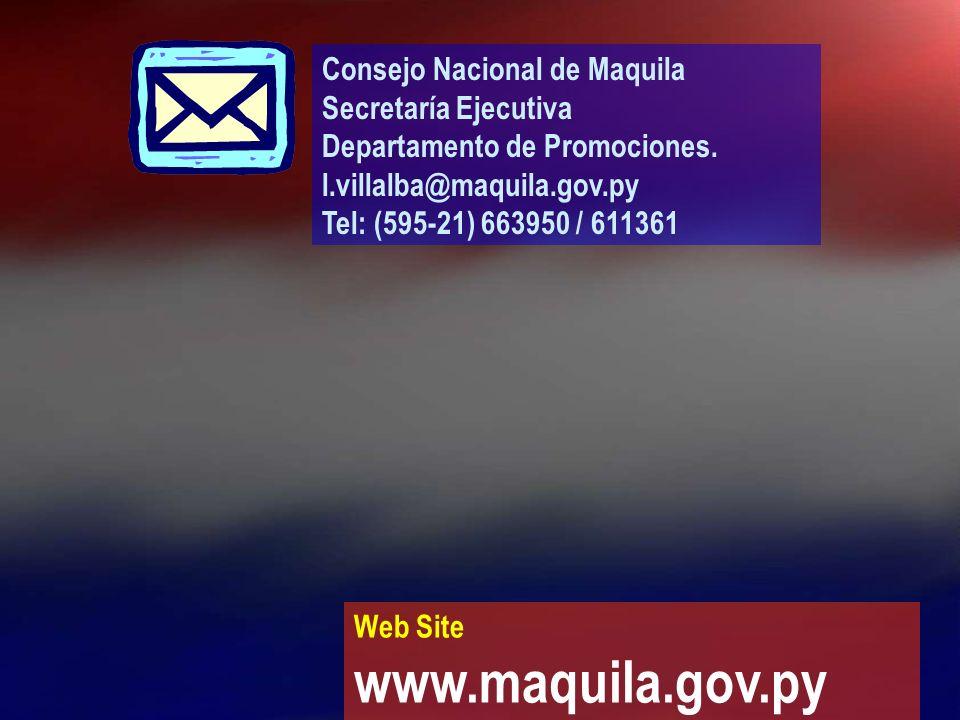 www.maquila.gov.py Consejo Nacional de Maquila Secretaría Ejecutiva