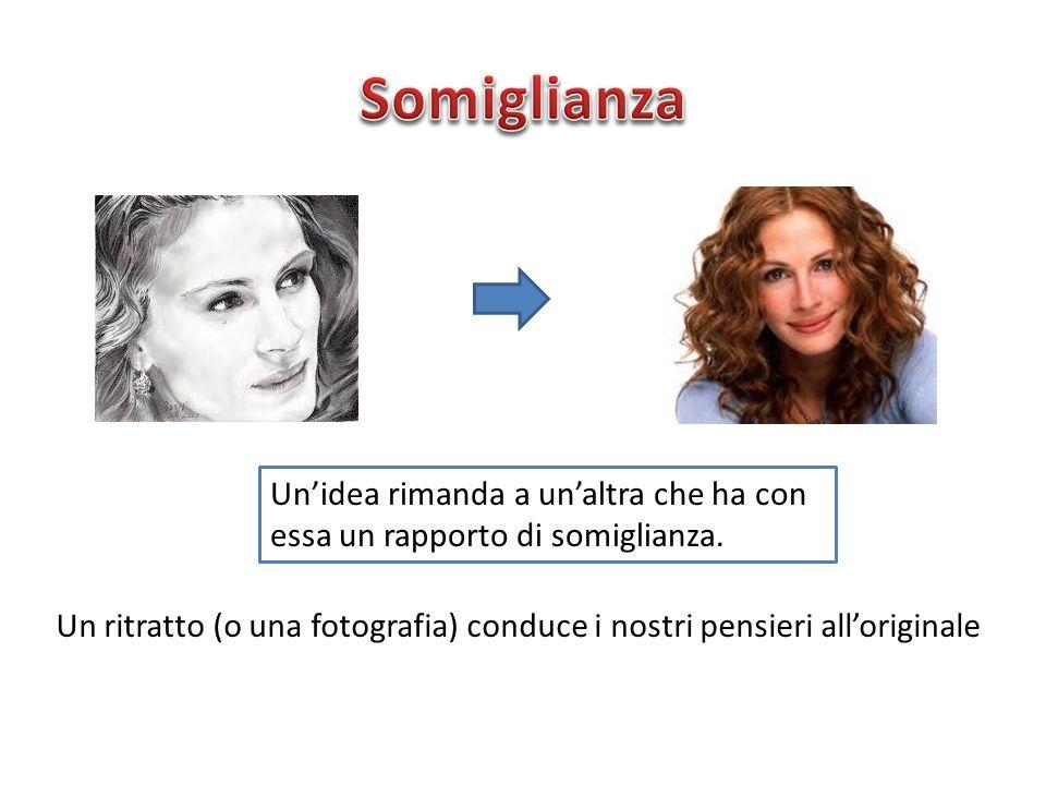Somiglianza Un'idea rimanda a un'altra che ha con essa un rapporto di somiglianza.