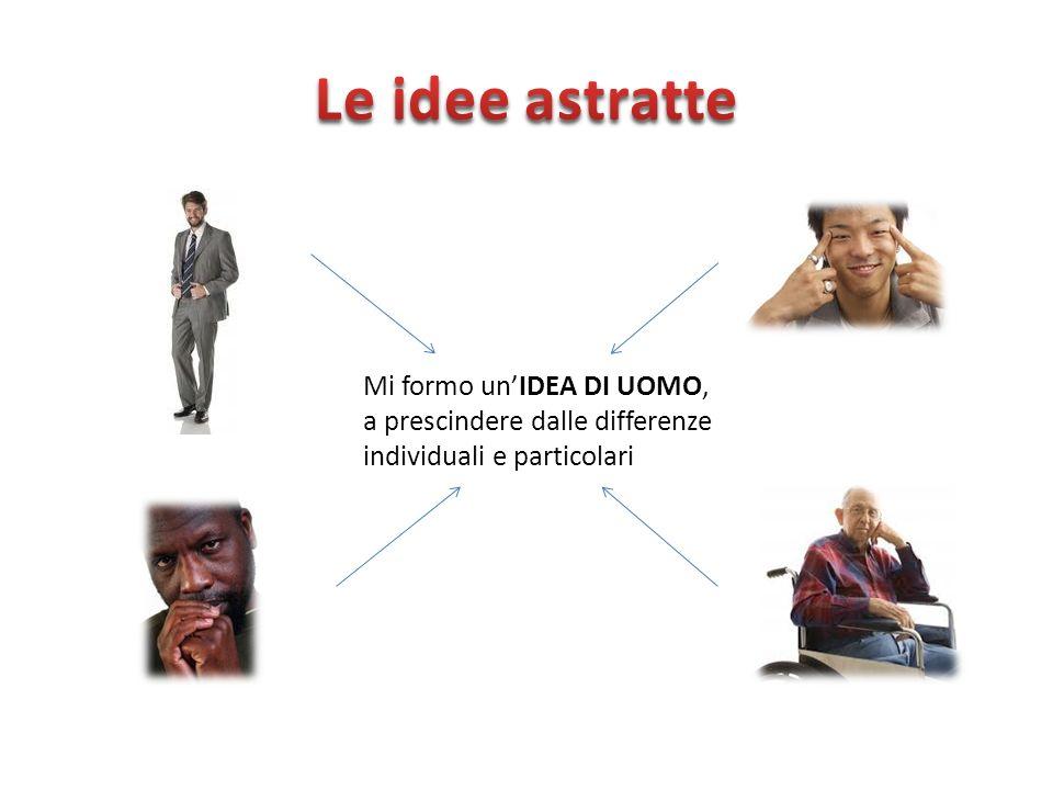 Le idee astratte Mi formo un'IDEA DI UOMO, a prescindere dalle differenze individuali e particolari