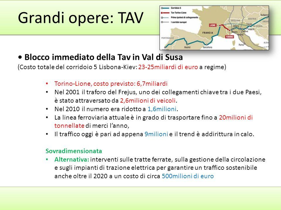 Grandi opere: TAV • Blocco immediato della Tav in Val di Susa