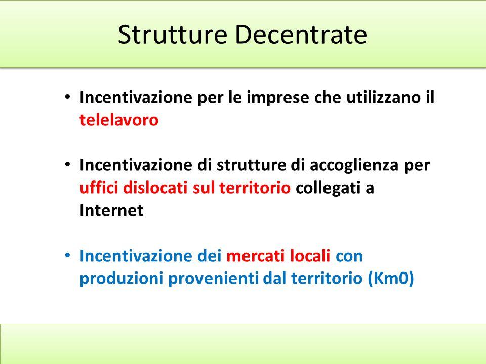 Strutture Decentrate Incentivazione per le imprese che utilizzano il telelavoro.