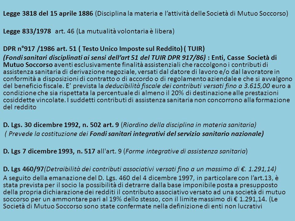 Legge 3818 del 15 aprile 1886 (Disciplina la materia e l'attività delle Società di Mutuo Soccorso)