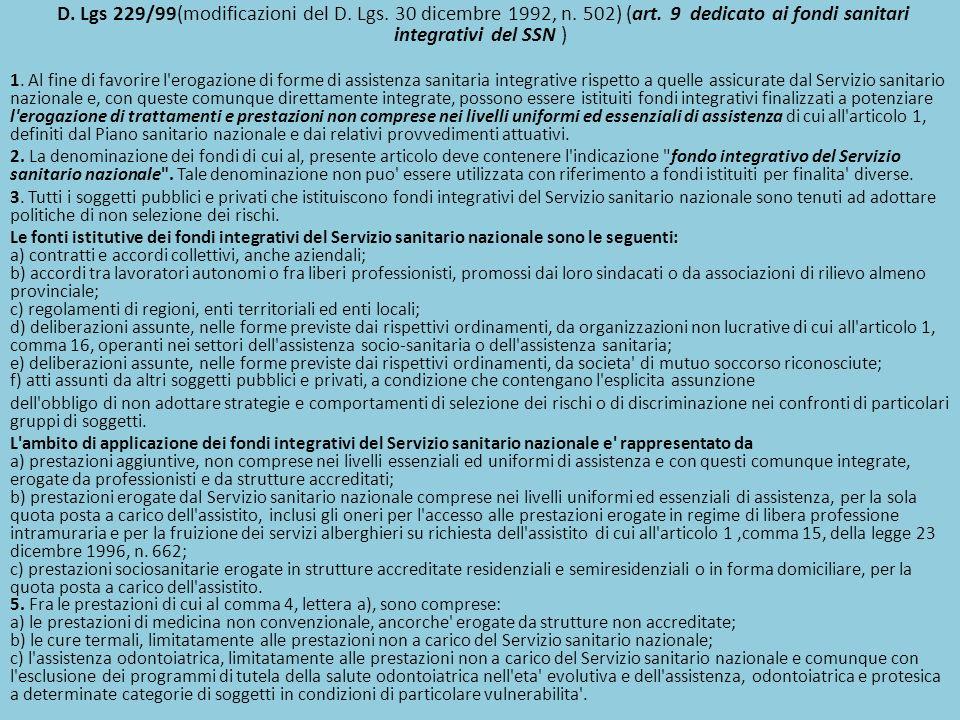 D. Lgs 229/99(modificazioni del D. Lgs. 30 dicembre 1992, n. 502) (art