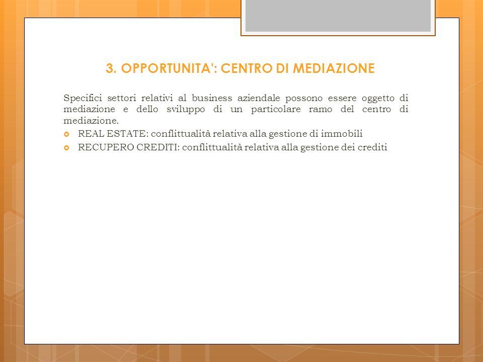 3. OPPORTUNITA : CENTRO DI MEDIAZIONE