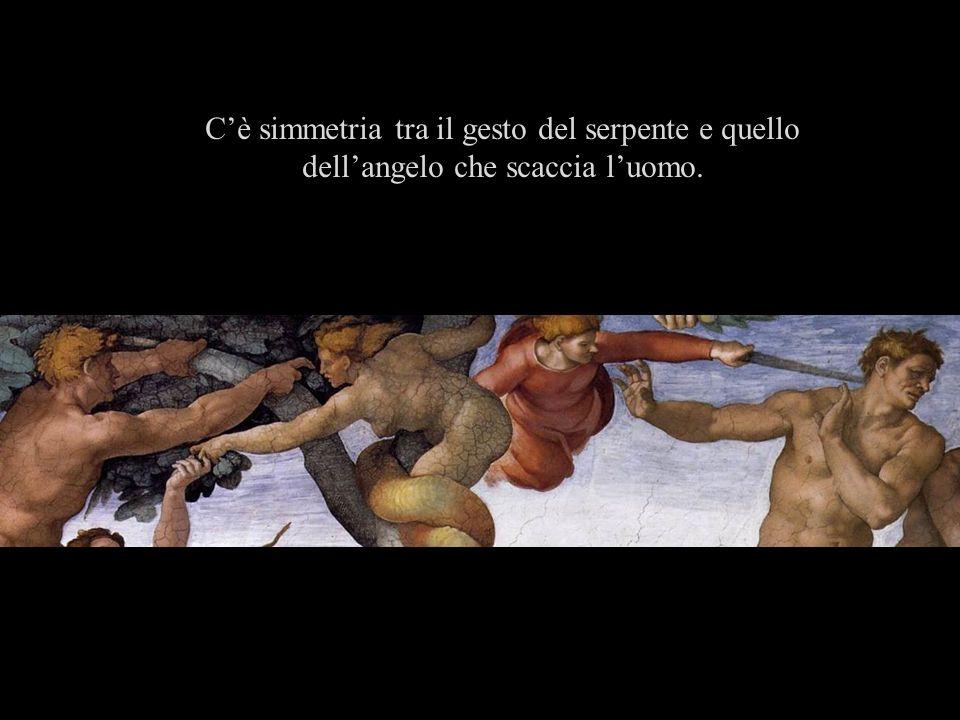C'è simmetria tra il gesto del serpente e quello dell'angelo che scaccia l'uomo.