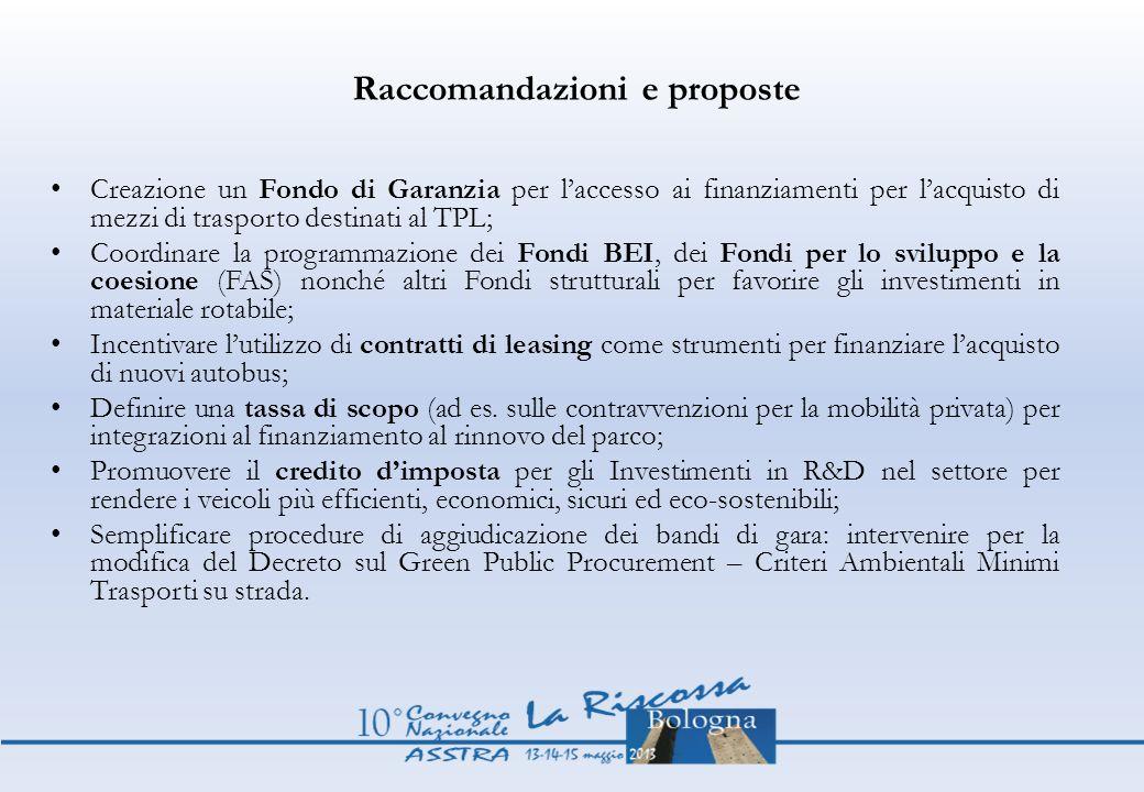 Raccomandazioni e proposte
