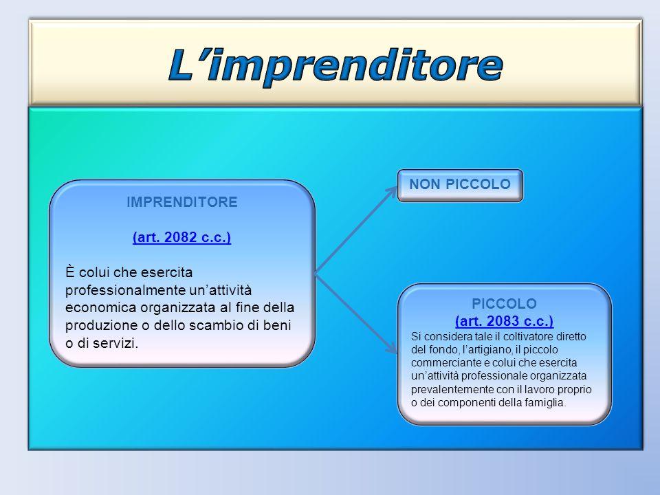 L'imprenditore NON PICCOLO IMPRENDITORE (art. 2082 c.c.)