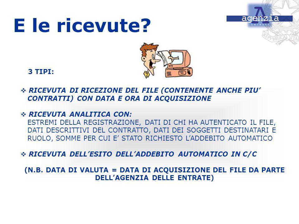 E le ricevute 3 TIPI: RICEVUTA DI RICEZIONE DEL FILE (CONTENENTE ANCHE PIU' CONTRATTI) CON DATA E ORA DI ACQUISIZIONE.