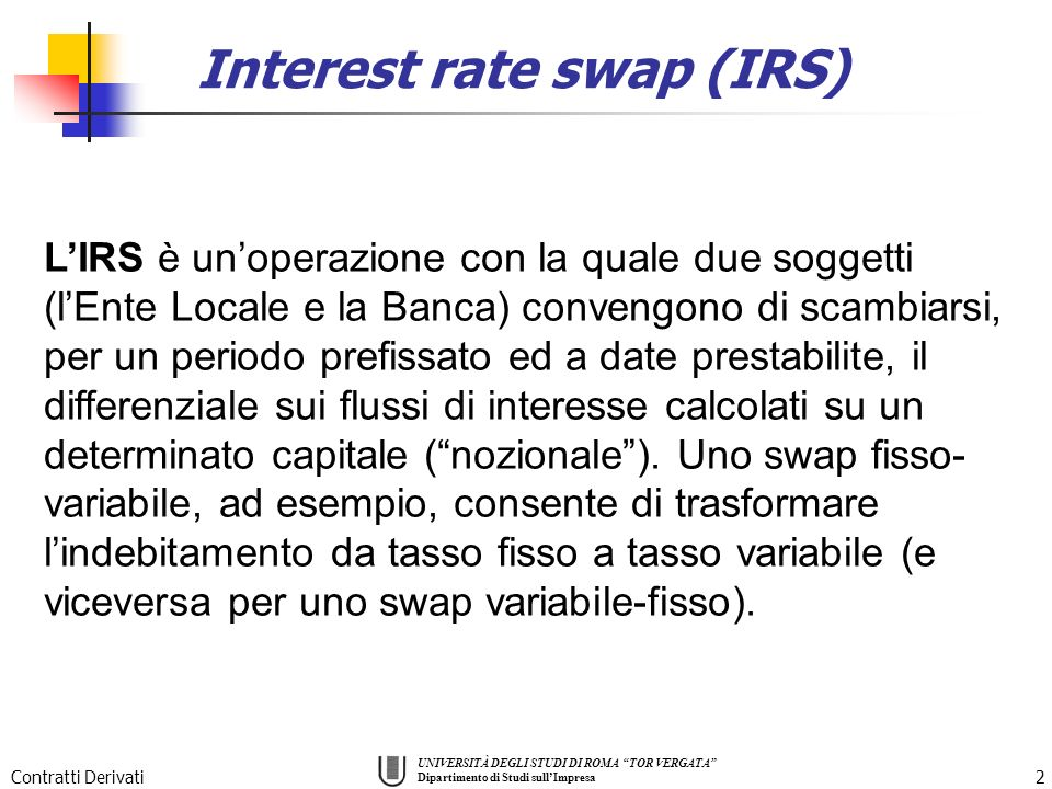 Interest rate swap (IRS)