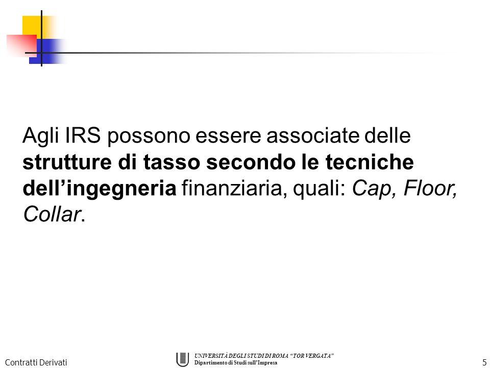 Agli IRS possono essere associate delle strutture di tasso secondo le tecniche dell'ingegneria finanziaria, quali: Cap, Floor, Collar.