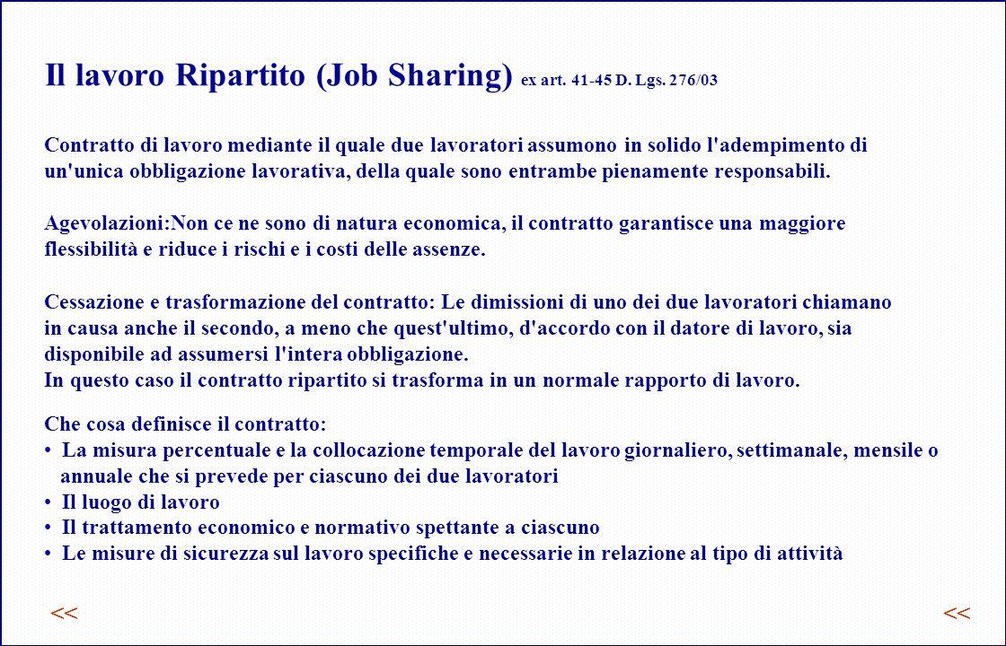 Il lavoro Ripartito (Job Sharing) ex art. 41-45 D. Lgs. 276/03