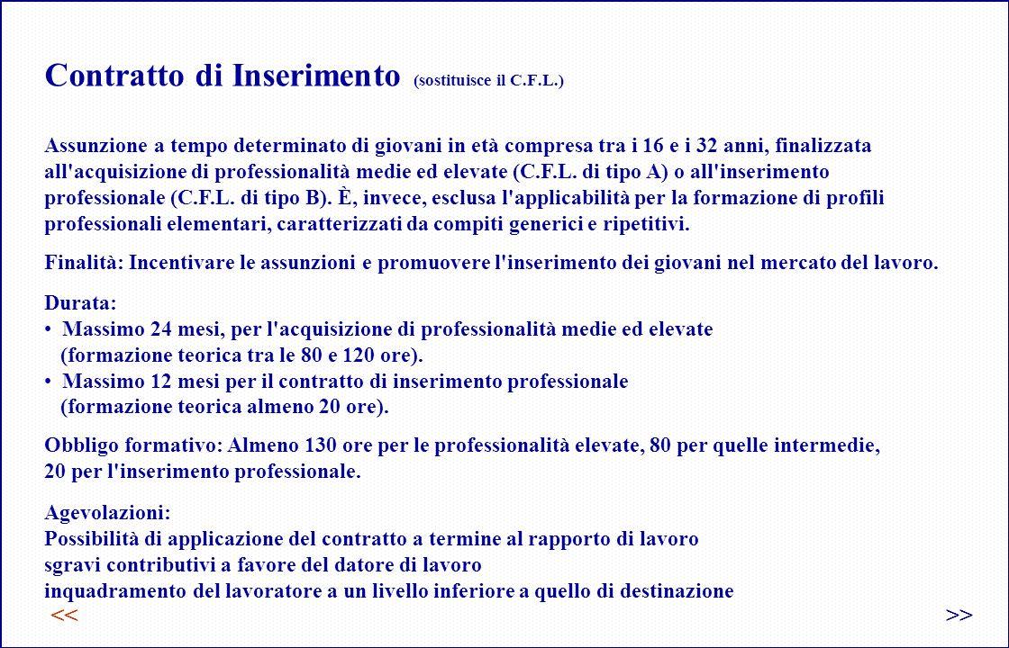 Contratto di Inserimento (sostituisce il C.F.L.)
