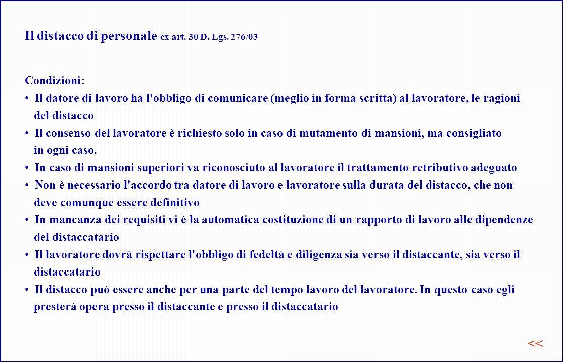 Il distacco di personale ex art. 30 D. Lgs. 276/03
