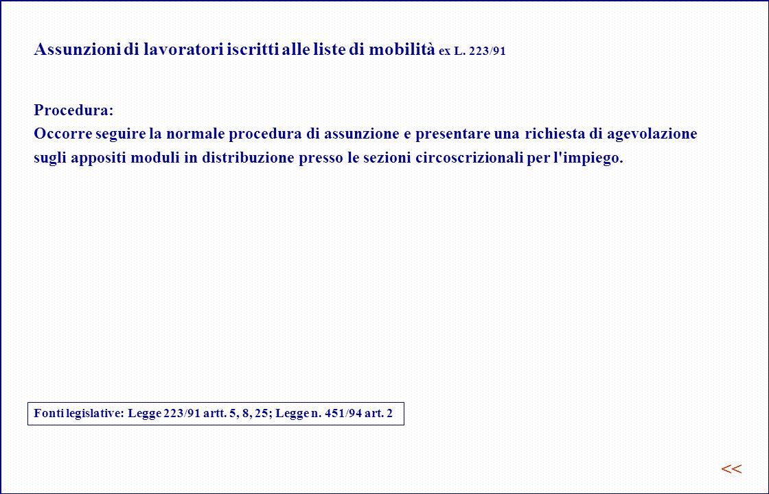 Assunzioni di lavoratori iscritti alle liste di mobilità ex L. 223/91
