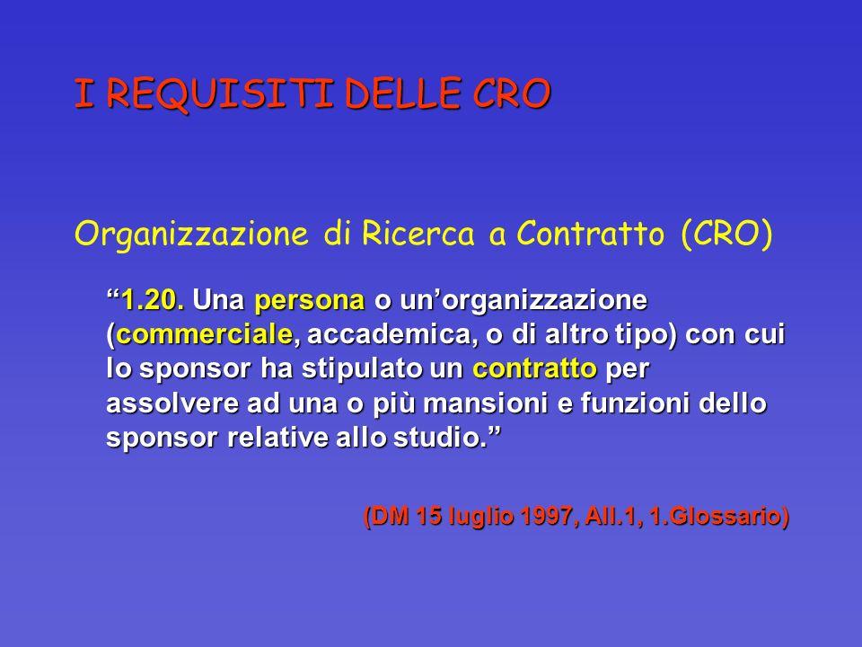 I REQUISITI DELLE CRO Organizzazione di Ricerca a Contratto (CRO)