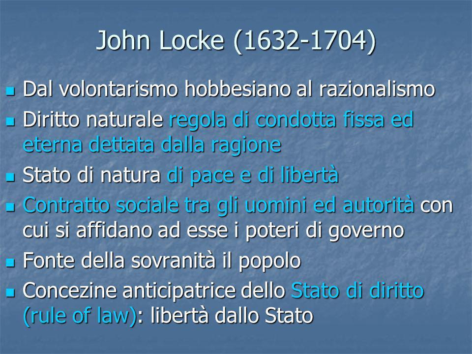 John Locke (1632-1704) Dal volontarismo hobbesiano al razionalismo