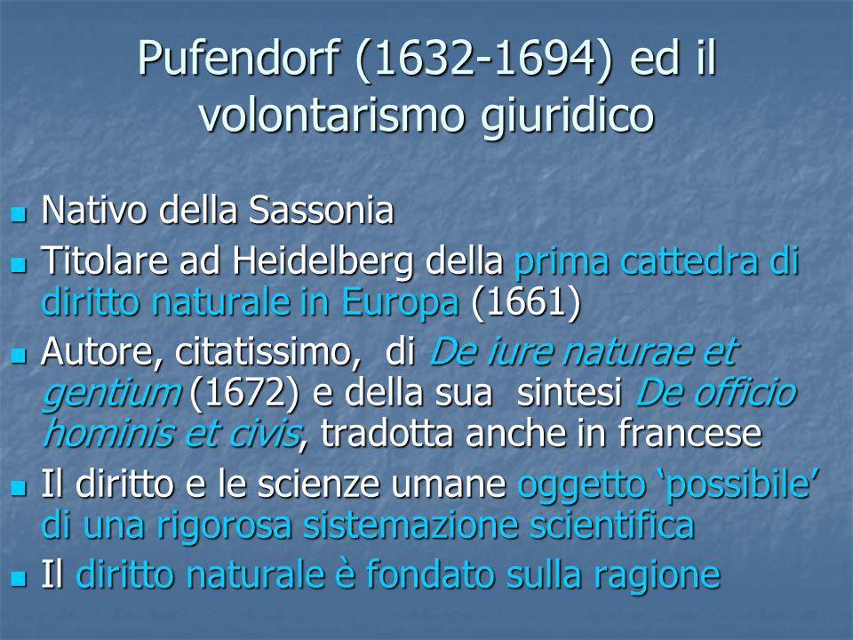 Pufendorf (1632-1694) ed il volontarismo giuridico