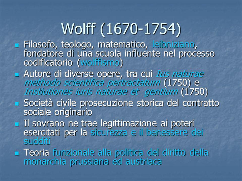Wolff (1670-1754) Filosofo, teologo, matematico, leibniziano, fondatore di una scuola influente nel processo codificatorio (wolffismo)