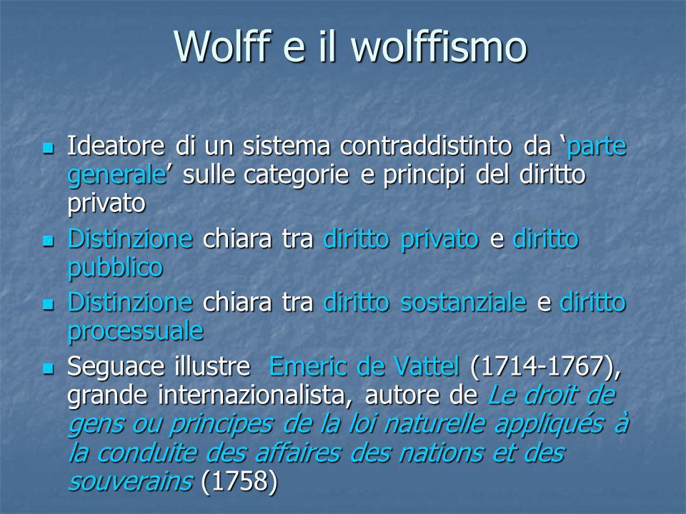Wolff e il wolffismo Ideatore di un sistema contraddistinto da 'parte generale' sulle categorie e principi del diritto privato.