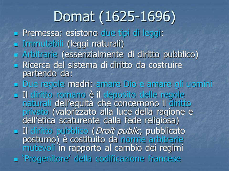 Domat (1625-1696) Premessa: esistono due tipi di leggi: