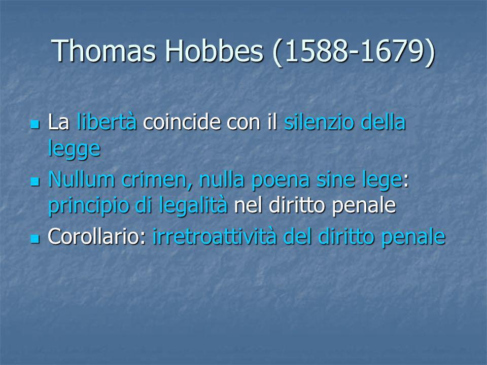 Thomas Hobbes (1588-1679) La libertà coincide con il silenzio della legge.