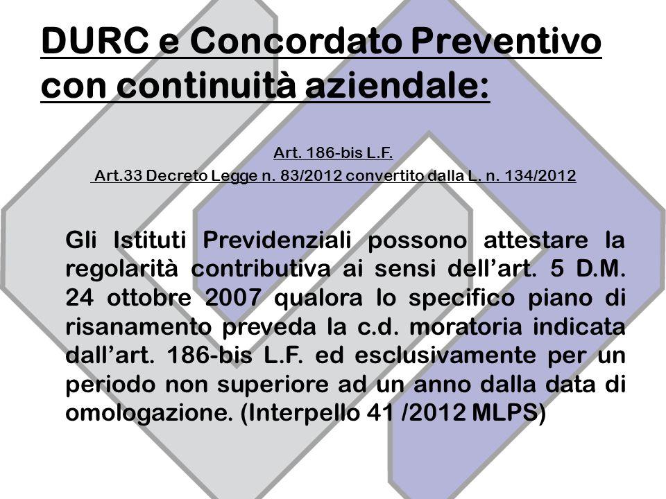 DURC e Concordato Preventivo con continuità aziendale: