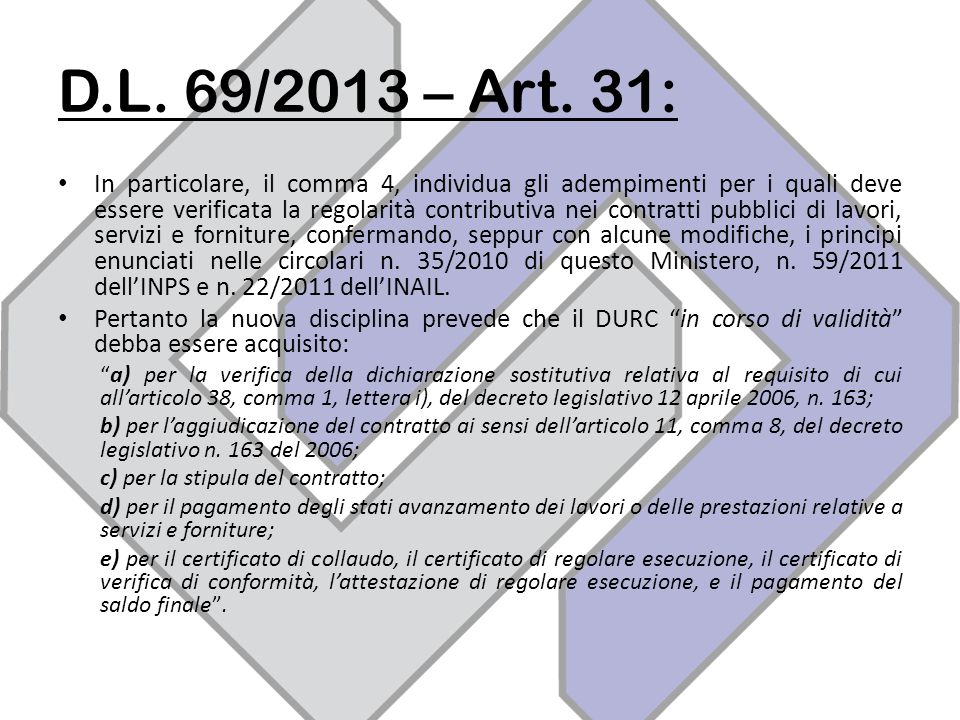 D.L. 69/2013 – Art. 31: