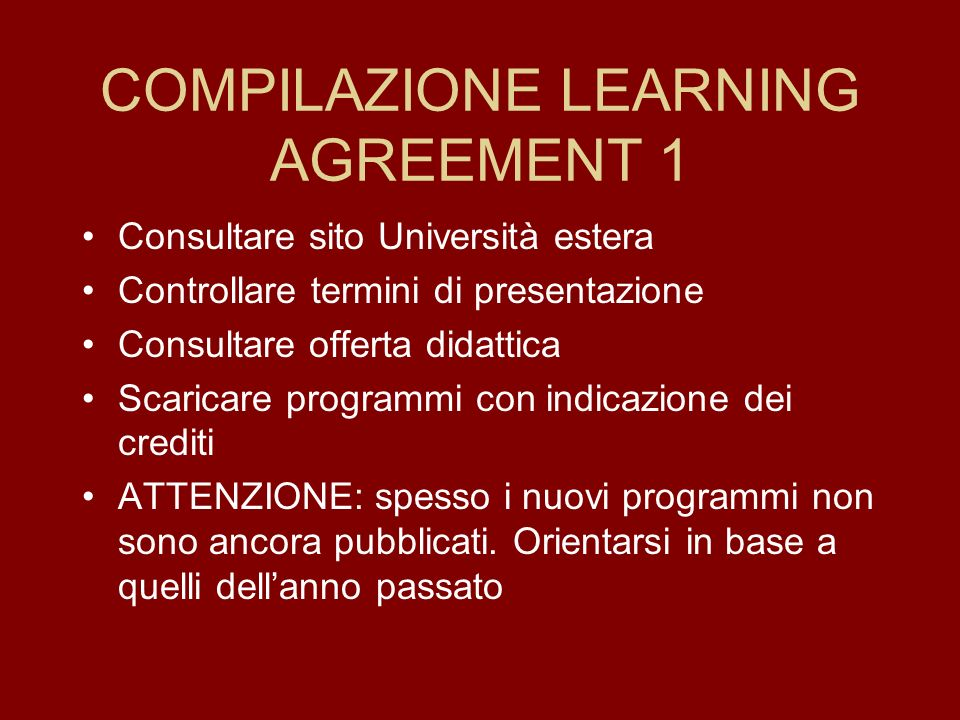 COMPILAZIONE LEARNING AGREEMENT 1