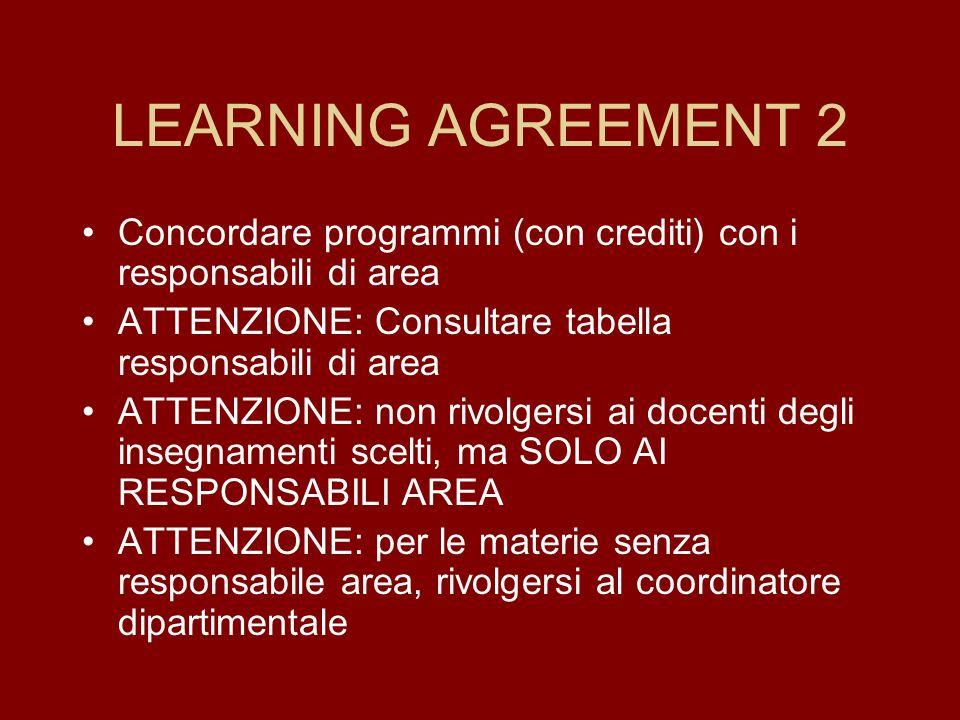 LEARNING AGREEMENT 2 Concordare programmi (con crediti) con i responsabili di area. ATTENZIONE: Consultare tabella responsabili di area.
