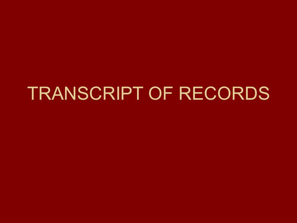 TRANSCRIPT OF RECORDS
