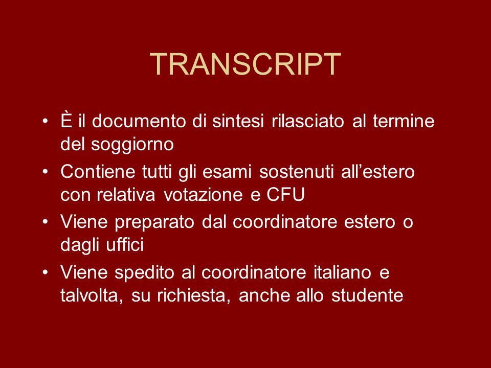 TRANSCRIPT È il documento di sintesi rilasciato al termine del soggiorno. Contiene tutti gli esami sostenuti all'estero con relativa votazione e CFU.