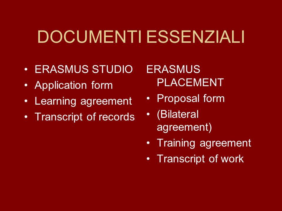 DOCUMENTI ESSENZIALI ERASMUS STUDIO Application form