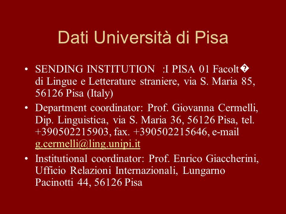 Dati Università di Pisa