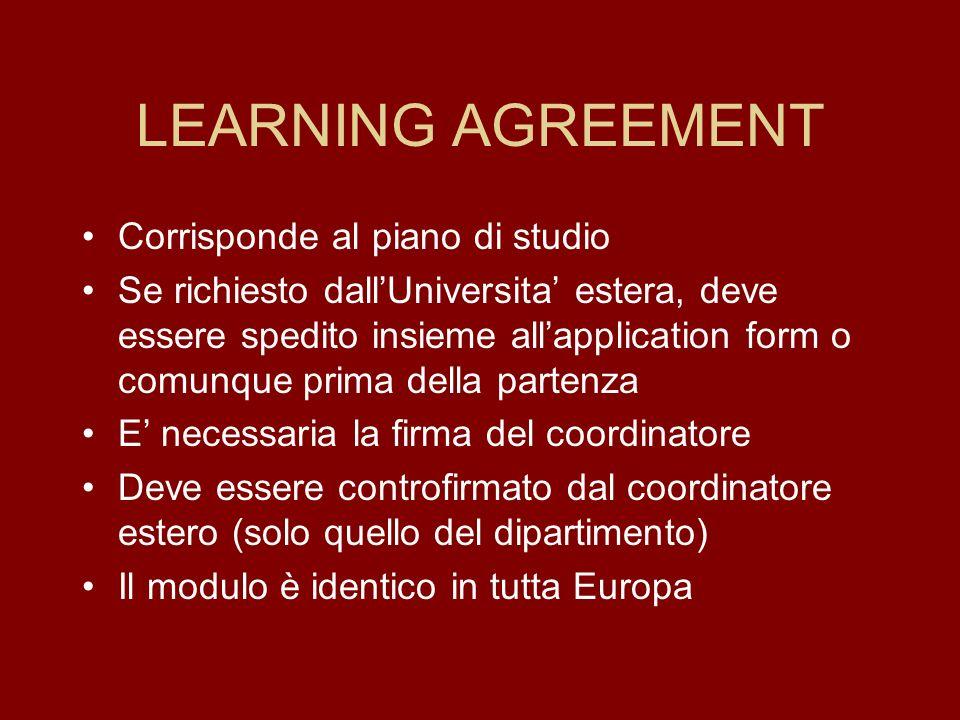 LEARNING AGREEMENT Corrisponde al piano di studio