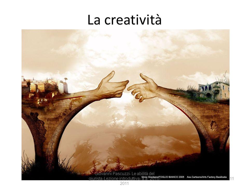 La creatività Giovanni Pascuzzi- Le abilità del giurista-Lezione introduttiva- a.a. 2010-2011