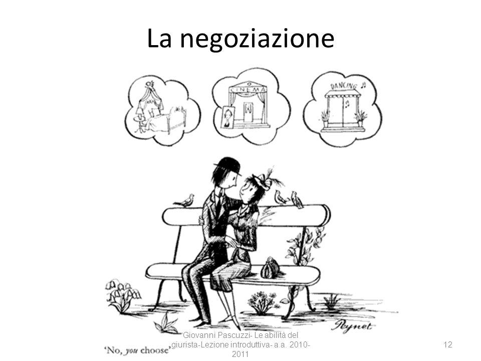 La negoziazione Giovanni Pascuzzi- Le abilità del giurista-Lezione introduttiva- a.a. 2010-2011