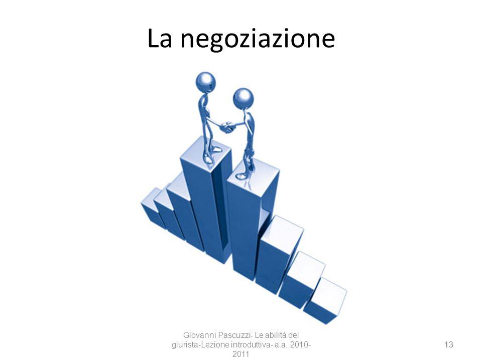 La negoziazione Giovanni Pascuzzi- Le abilità del giurista-Lezione introduttiva- a.a. 2010-2011 13