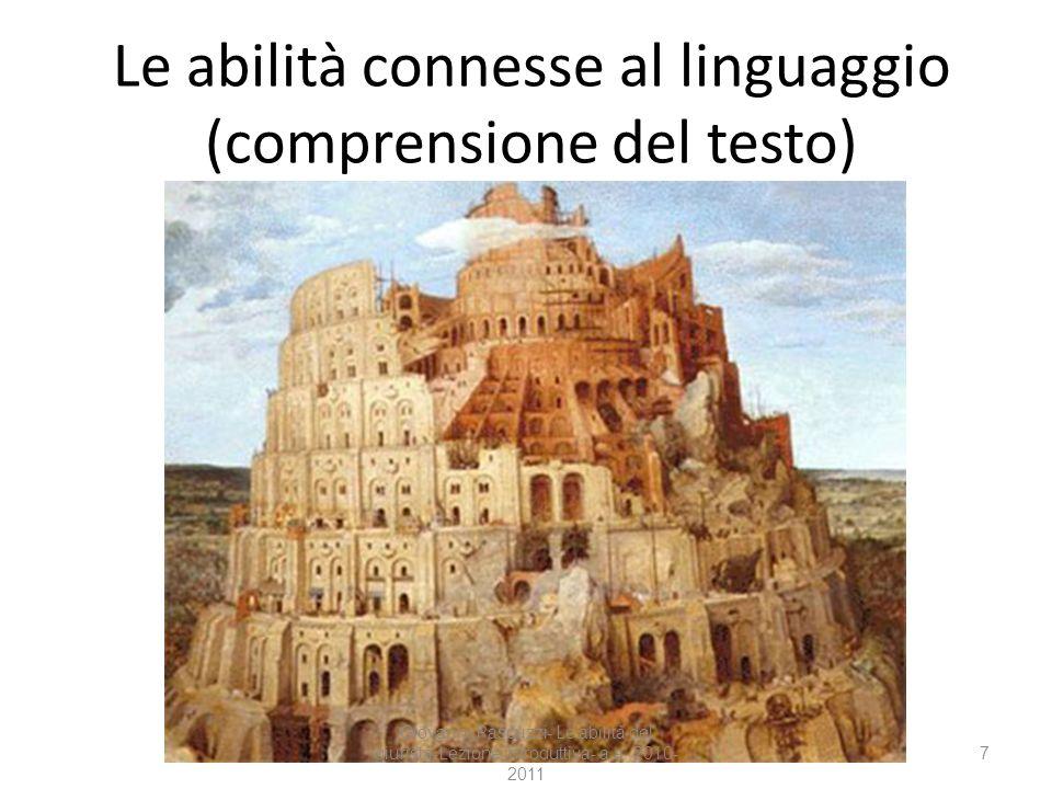 Le abilità connesse al linguaggio (comprensione del testo)